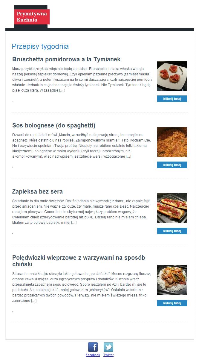 Przykładowy newsletter PrymitywnaKuchnia.pl